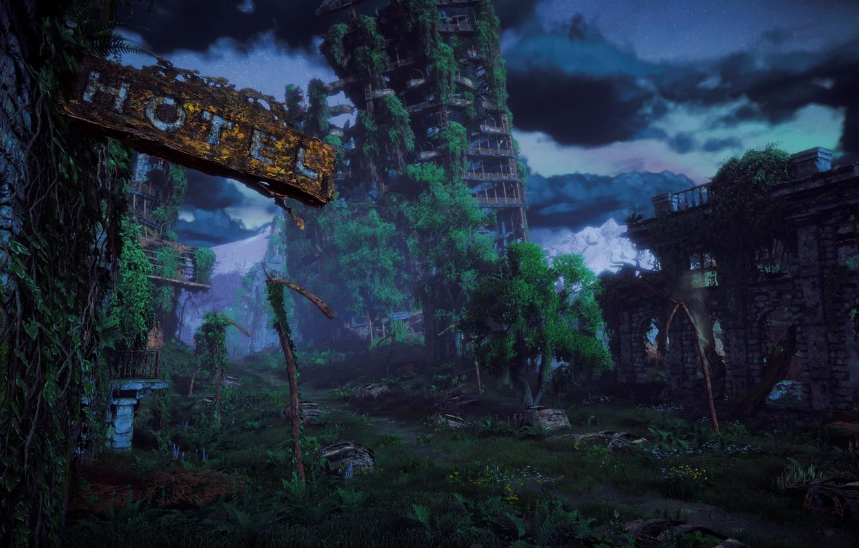 Фото обои Небо, Деревья, Horizon, постапокалипсис, Sony Computer Entertainment, Guerrilla Games, Horizon: Zero Dawn, Horizon Zero Dawn