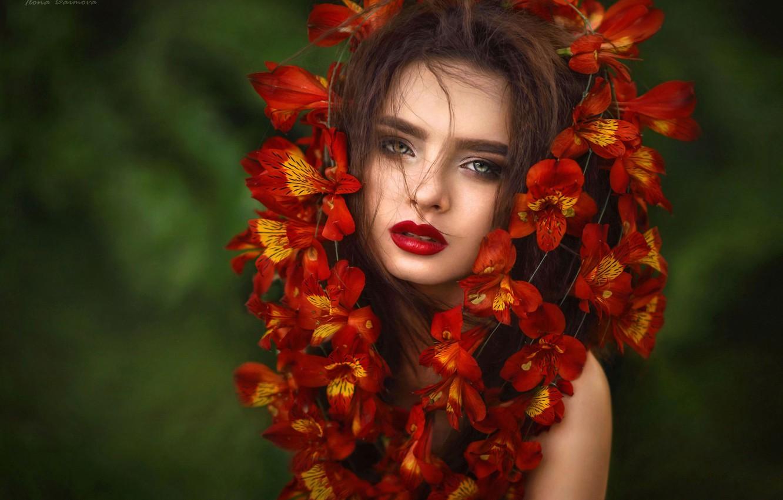 Фото обои взгляд, девушка, цветы, лицо, фон, портрет, Илона Баимова, Виктория Маяцкая