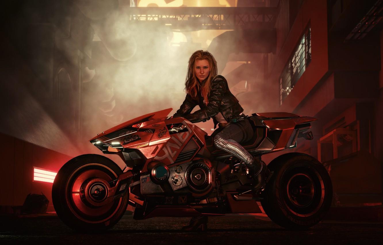 Фото обои girl, bike, art, rider, blonde, Cyberpunk 2077, biker