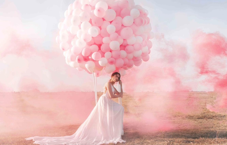 Фото обои небо, девушка, воздушные шары, дым, краска, Jovana Rikalo