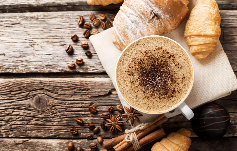Фото обои кофе, завтрак, корица, wood, coffee, анис звёздчатый, шоколадные конфеты, aroma