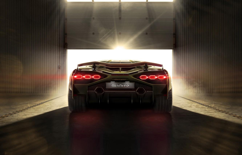 Фото обои машина, свет, Lamborghini, фонари, суперкар, Sián