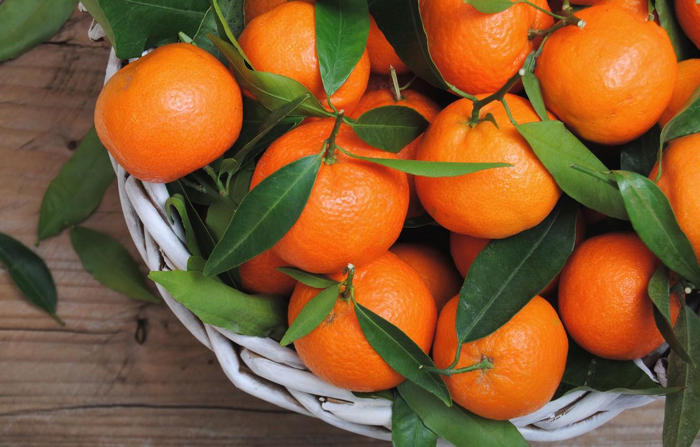 Фото обои цитрусы, листики, мандарины