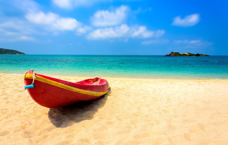 Фото обои песок, море, волны, пляж, лето, лодка, summer, beach, sea, blue, seascape, sand, wave, boat