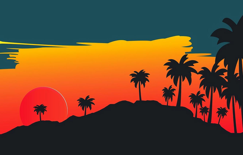 Фото обои Солнце, Минимализм, Звезда, Стиль, Пальмы, Фон, Style, Illustration, 80's, Synth, Retrowave, Synthwave, New Retro Wave