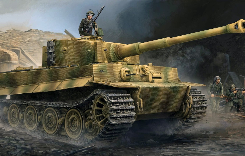 Фото обои Тигр, вермахт, Panzerkampfwagen VI, немецкий тяжёлый танк, Pz.VI Ausf E