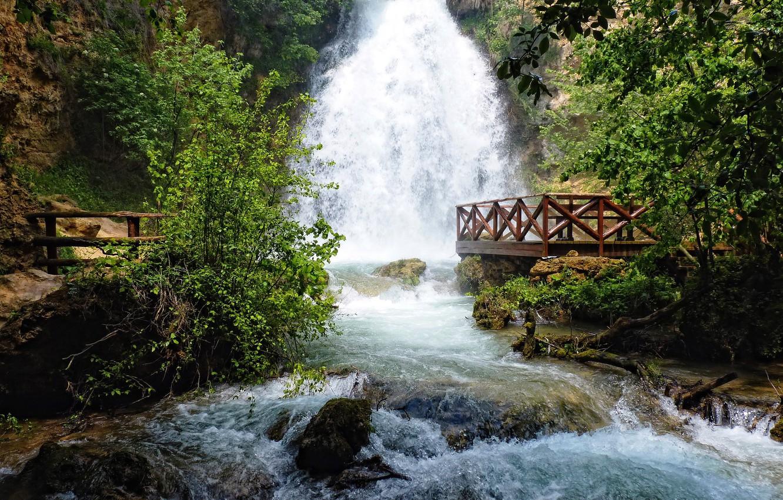 Фото обои река, камни, водопад, поток, площадка, сербия, ресавица