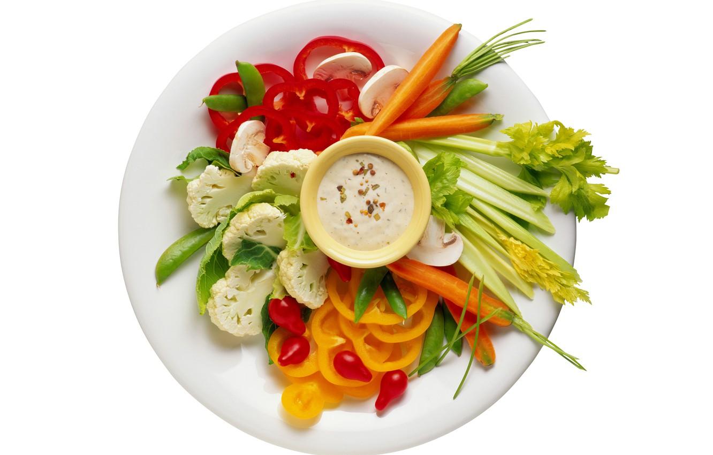 Фото обои фон, тарелка, овощи