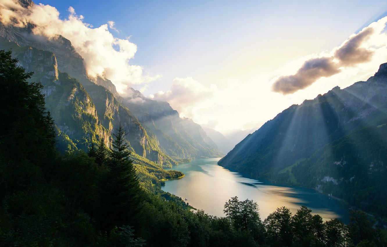 Фото обои горы, озеро, forest, Switzerland, lake, Mounts, Klontalersee