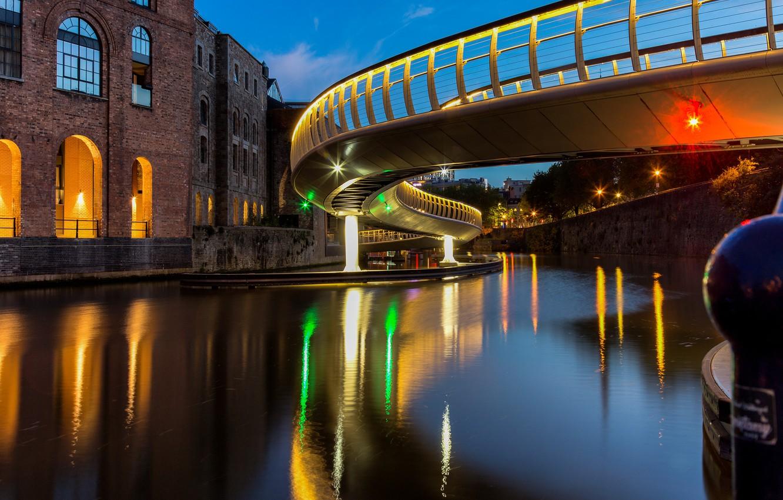 Фото обои мост, огни, Англия, вечер, Бристоль