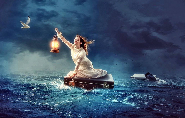 Фото обои крушение, Море, чайка, спасение.