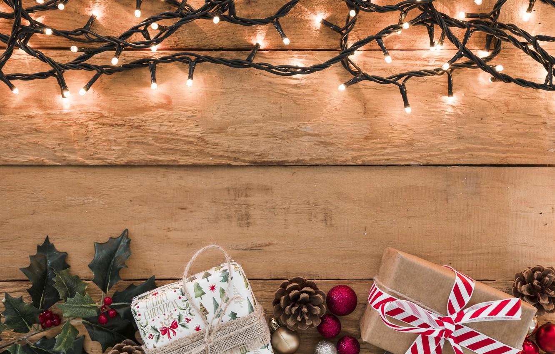 Фото обои украшения, Новый Год, Рождество, подарки, гирлянда, Christmas, wood, New Year, gift, decoration, Merry