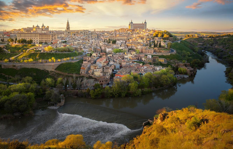 Фото обои река, здания, дома, панорама, Испания, Толедо, Spain, Toledo, Tagus River, Река Тахо