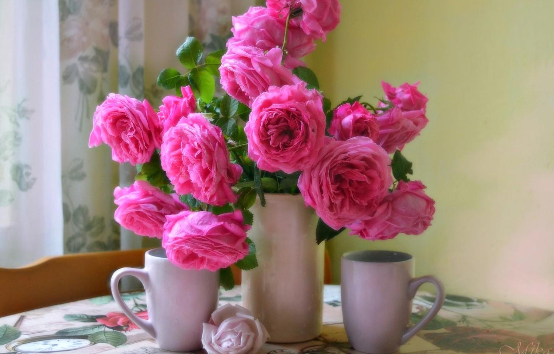 Фото обои Чашки, Vase, Pink roses, Розовые розы