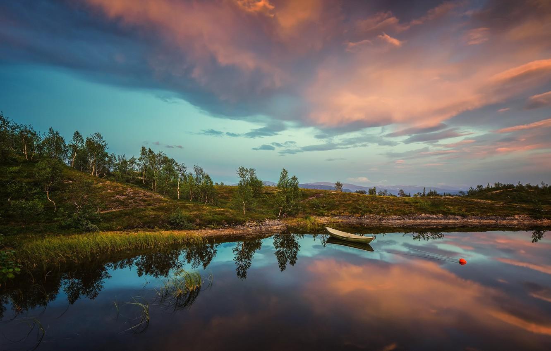 Фото обои лето, закат, озеро, лодка, вечер