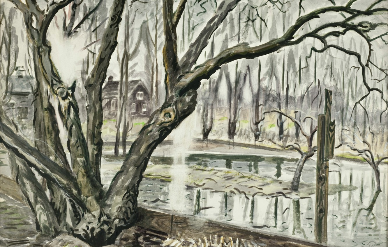 Фото обои 1947, Charles Ephraim Burchfield, Spring Landscape With Trees and Pond