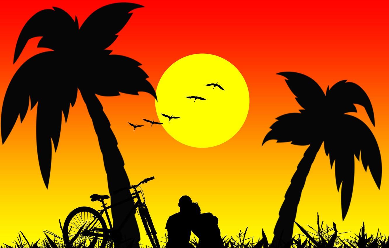 Фото обои пальмы, романтика, двое, силуэты