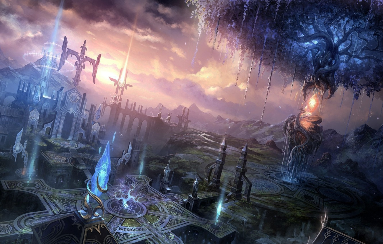 Фото обои облака, замок, магия, площадь, magic, лучи света, square, строения, clouds, castle, buildings, красивая архитектура, rays …