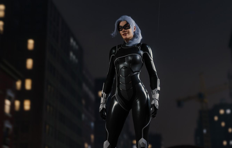 Фото обои Sony, Marvel, suit, Spider-Man, Exclusive, PS4, Black Cat, Felicia Hardy, Insomniac Games