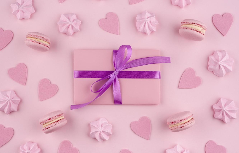 Фото обои фон, розовый, подарок, печенье, macarons, меренги, meringue