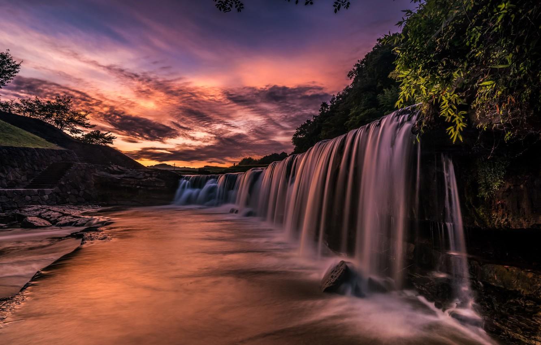 Фото обои река, рассвет, водопад, утро, Япония, каскад, Чёрный водопад
