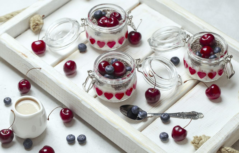Фото обои ягоды, завтрак, поднос, йогурт, чиа, Anna Zellen
