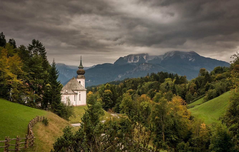 Фото обои горы, Германия, Бавария, Church of Maria Gern