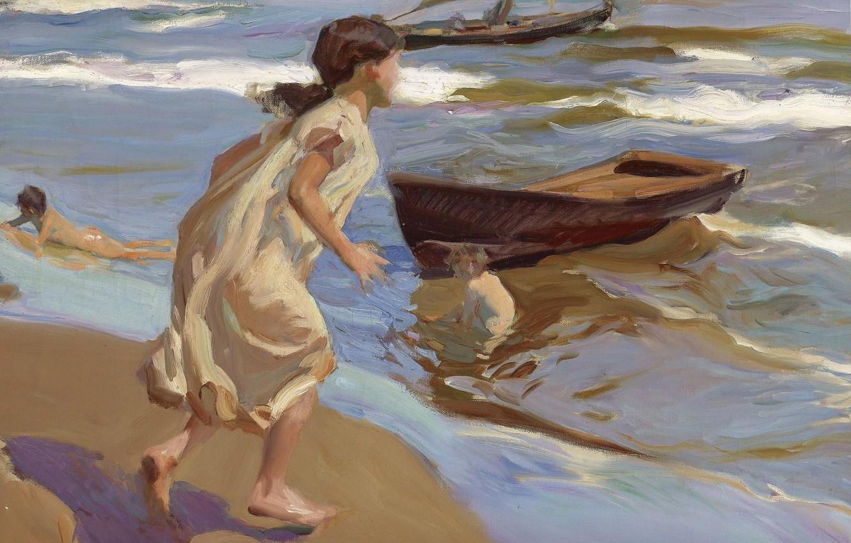 Обои жанровая, парус, Три Паруса, лодка, женщины, Хоакин Соролья, морской пейзаж, картина. Разное foto 11