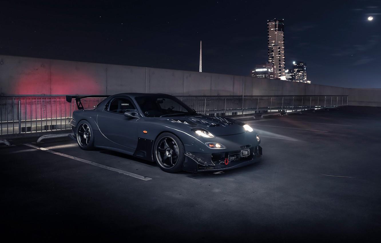 Фото обои свет, ночь, город, Mazda, RX7, mazda rx-7