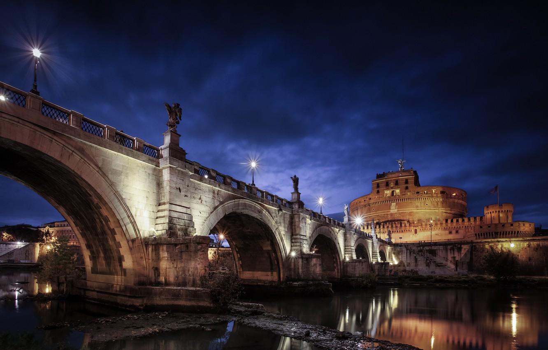 Фото обои ночь, тучи, мост, город, река, камни, освещение, Рим, фонари, Италия, мавзолей, Тибр, мост Святого Ангела, …