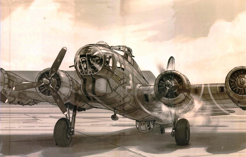 Фото обои рисунок, Boeing, запуск, бомбардировщик, USAF, B-17, Летающая крепость, Flying Fortress