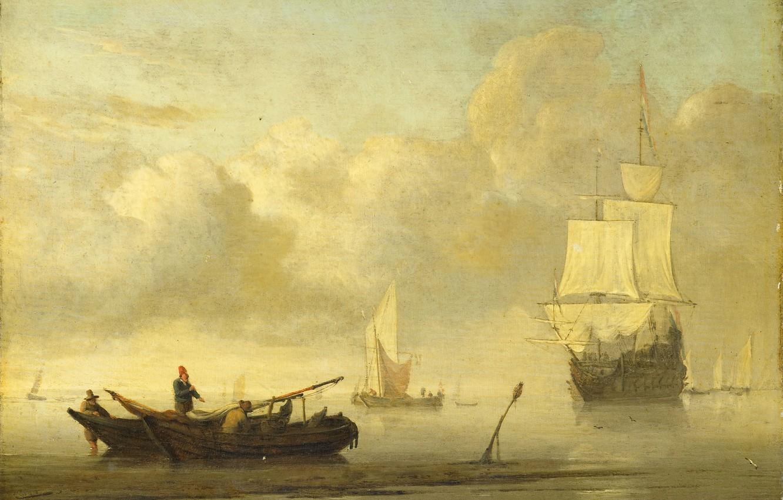 Обои масло, Виллем ван де Велде Младший, парус, холст, Эпизод Четырехдневного Сражения, картина, корабль. Разное foto 7