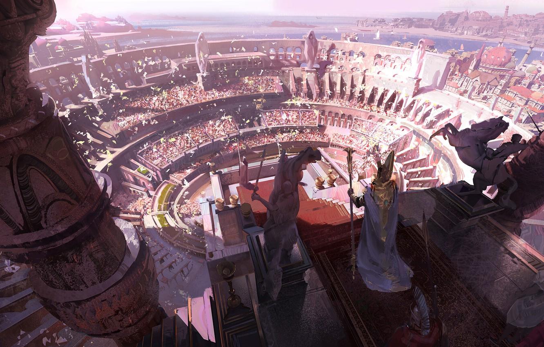 Фото обои fantasy, people, crowd, Arena, digital art, artwork, fantasy art, illustration, statues, scepter, emperor