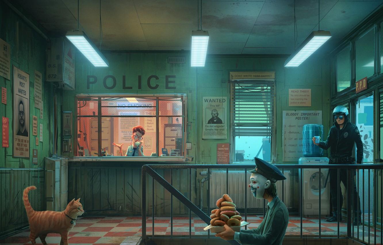 Фото обои Юмор, Полиция, Кот, Стиль, Маска, Арт, Art, Police, Style, Cat, Коп, Пончики, Room, Помещение, Mask, …