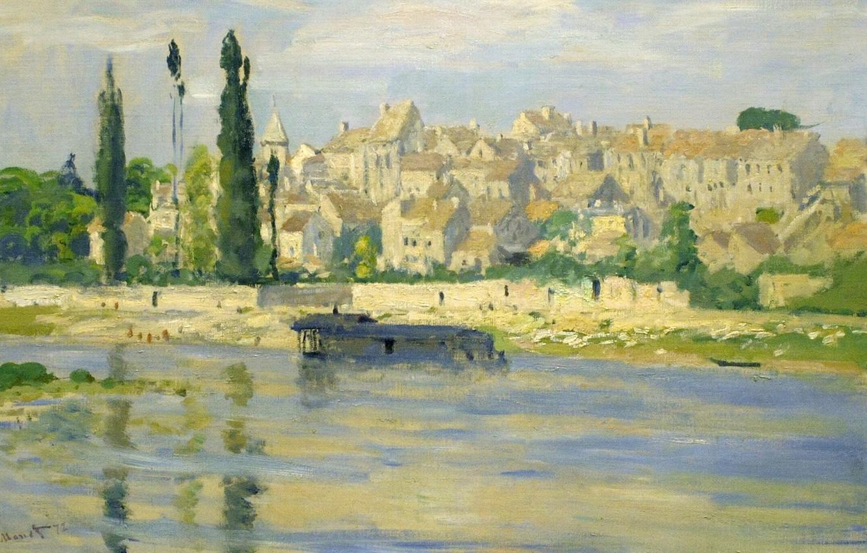 Фото обои пейзаж, город, река, дома, картина, живопись, клод моне