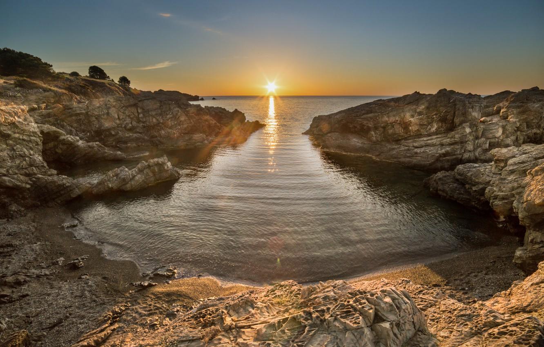 Фото обои пейзаж, закат, природа, побережье, красота