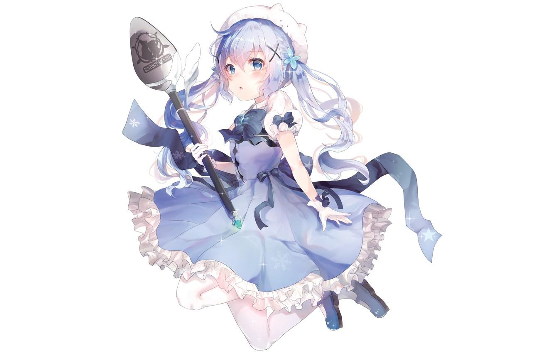 Фото обои аниме, девочка, белый фон