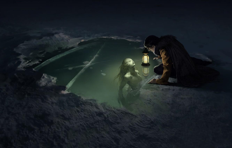 Фото обои light, ice, fantasy, night, lake, snow, man, digital art, artwork, concept art, mermaid, lantern, Creature, …