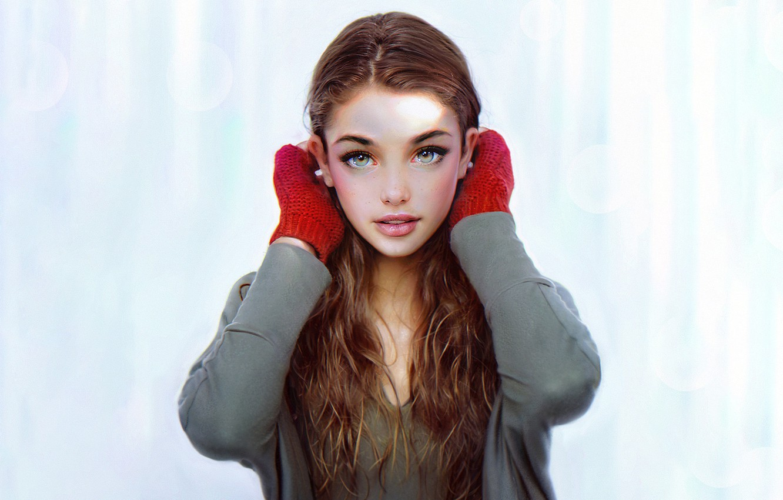 Фото обои Девушка, Взгляд, Губы, Лицо, Girl, Глаза, Портрет, Арт, Portrait, Irakli Nadar, Варежки, Рукавицы, by Irakli …