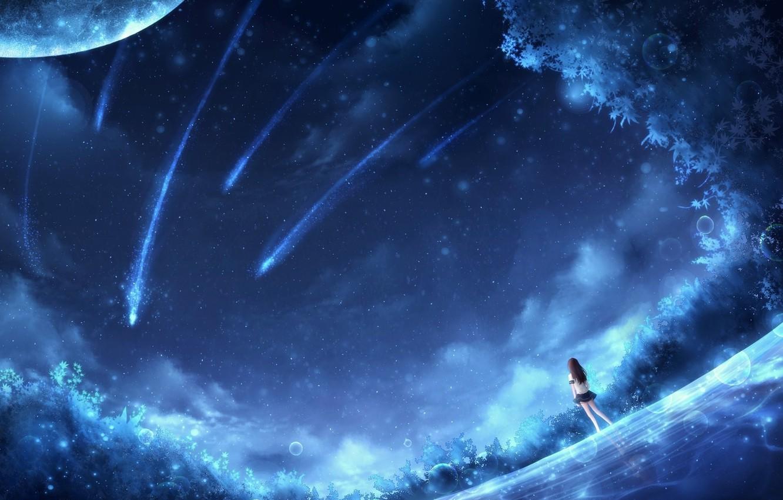 Фото обои мечты, синева, поляна, планеты, метеориты, blue, planets, dreams, fantasy art, meteorites, glade, сказочная ночь, фэнтези …