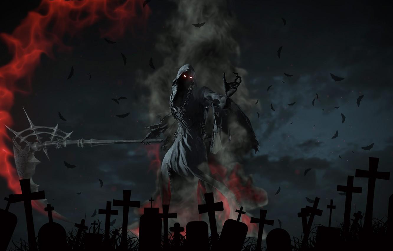 Фото обои ночь, пламя, кресты, кладбище, надгробия, Смерть, летучие мыши, смерть с косой, жуть, горящие глаза, лохмотья, …