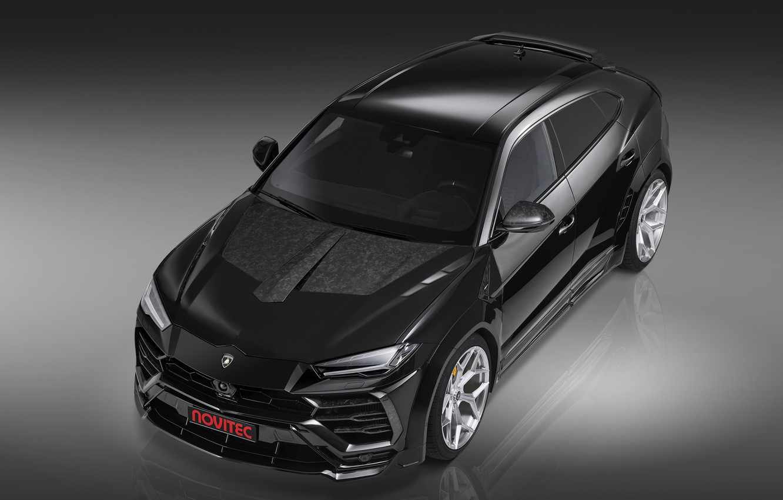Фото обои Lamborghini, вид спереди, кроссовер, Urus, Novitec, 2019