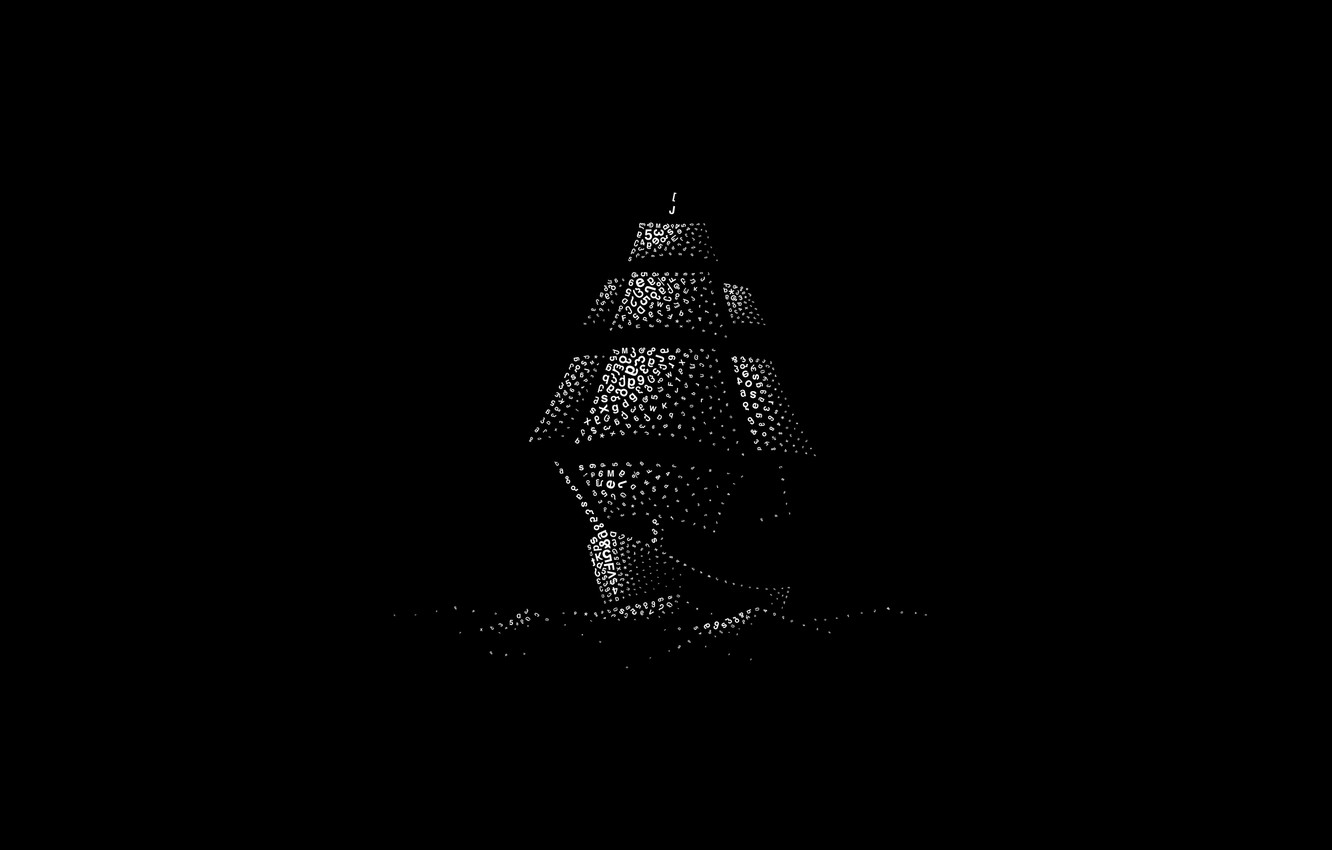 Фото обои waves, minimalism, digital art, artwork, numbers, black background, letters, Ship, simple background, sailing ship