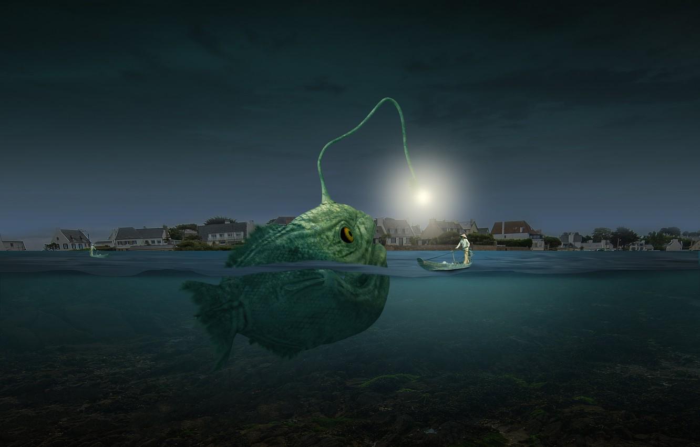 Фото обои photoshop, composite, angler fish