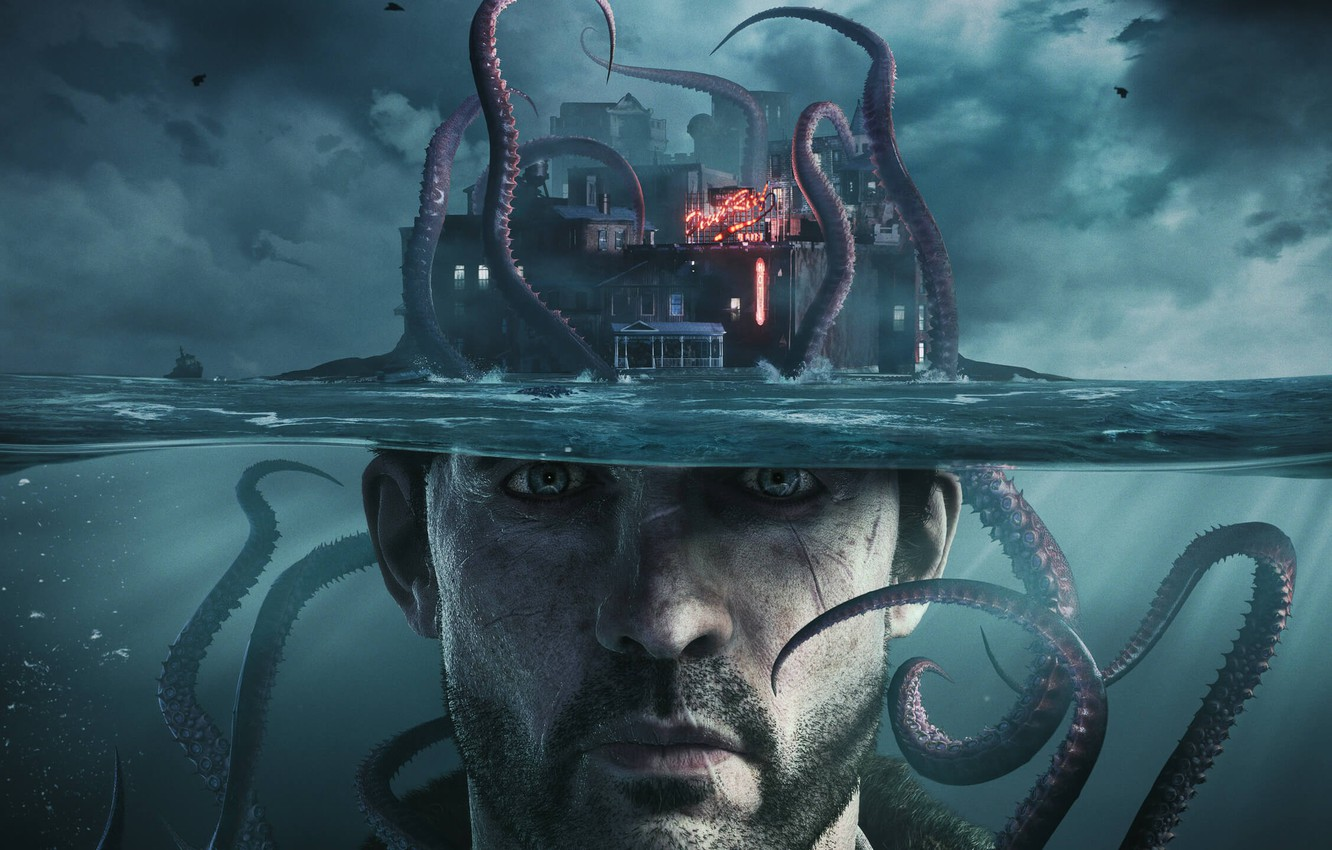 Фото обои city, game, sea, man, tentacles, 2019, H.P Lovecraft, Chtulhu, The Sinking City