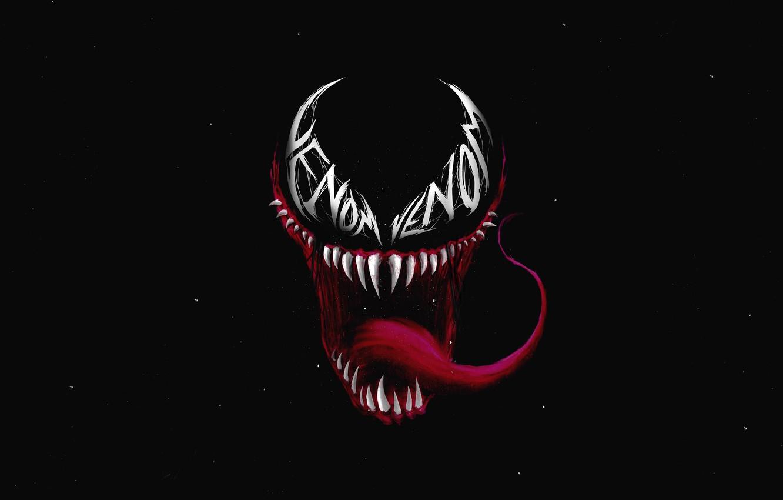 Фото обои язык, зубы, арт, пасть, черный фон, комикс, MARVEL, Веном, Venom