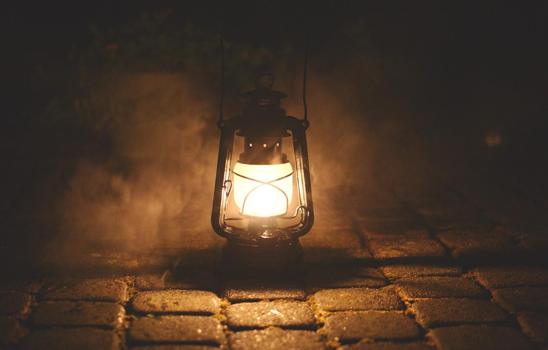 Фото обои свет, дым, лампа, горит