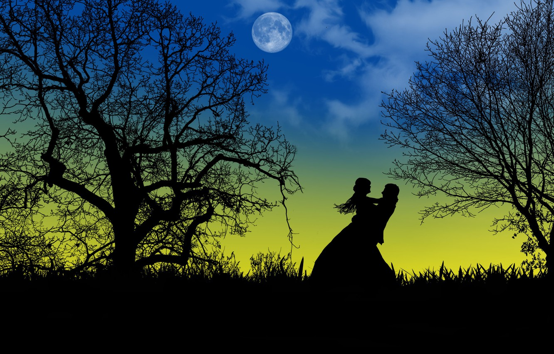 Фото обои любовь, ночь, луна, романтика, двое, силуэты, свидание