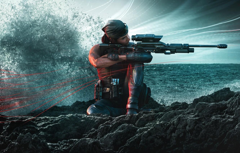 Фото обои волны, вода, снайпер, Ubisoft, спецназ, снайперская винтовка, наёмники, Tom Clancy's Rainbow Six Siege, Rainbow Six …