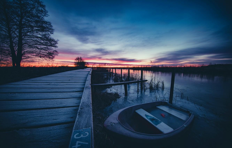Обои рисунок, Вода, лодки, ночь, свет. Разное foto 12